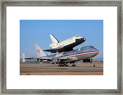 747 Takes Off With Space Shuttle Enterprise For Alt-4 Framed Print by Brian Lockett