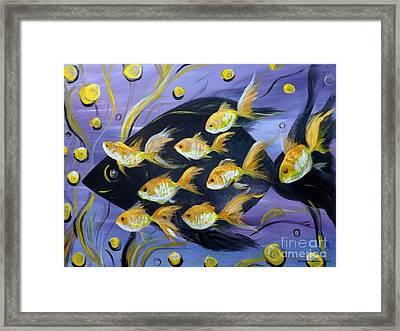 8 Gold Fish Framed Print by Gina De Gorna