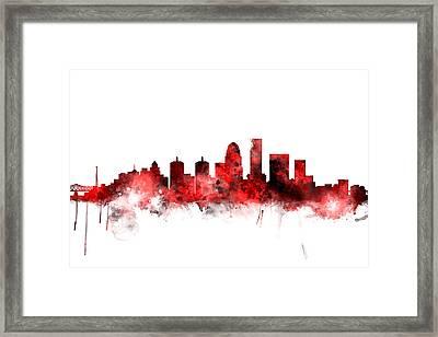 Louisville Kentucky City Skyline Framed Print by Michael Tompsett