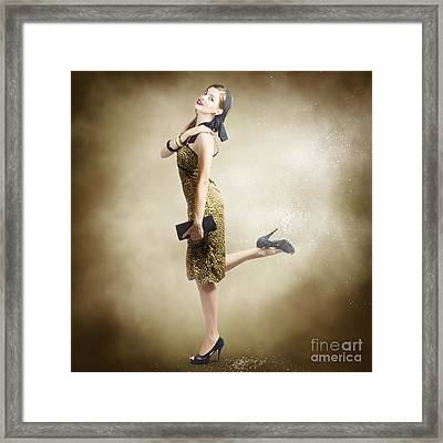 80s Pinup Woman Kicking Up Dust And Sand Framed Print by Jorgo Photography - Wall Art Gallery