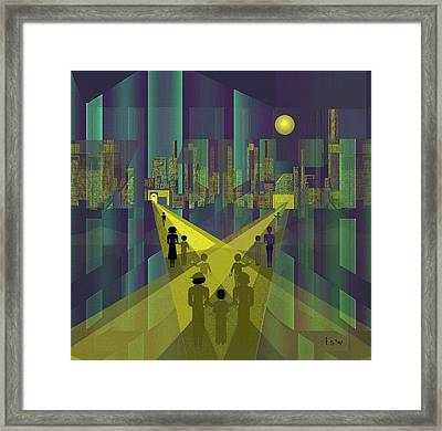 854 - Nightwalking  To A Distant  City     Framed Print by Irmgard Schoendorf Welch