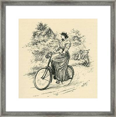A 19th Century Female Cyclist. From The Framed Print by Vintage Design Pics