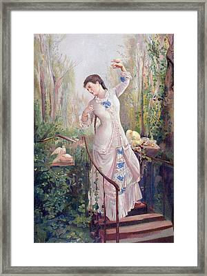 A 19th Century Woman In A Garden With Framed Print by Vintage Design Pics