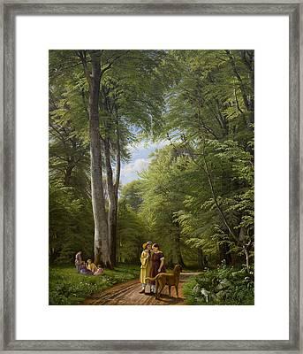 A Beech Wood In May Near Iselingen Manor Framed Print by Peter Christian Skovgaard