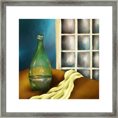 A Bottle And A Towel Framed Print by Brenda Bryant