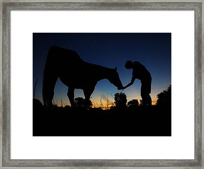A Boy And His Horse Framed Print by Jake Marvin