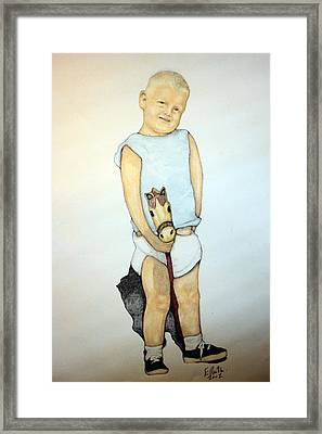 A Boy On A Stickhorse Framed Print by Edward Ruth