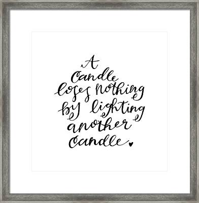 A Candle Framed Print by Nancy Ingersoll