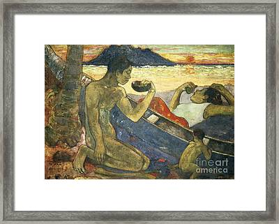A Canoe Framed Print by Paul Gauguin