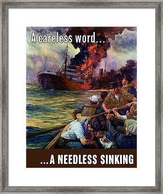 A Careless Word A Needless Sinking Framed Print by War Is Hell Store