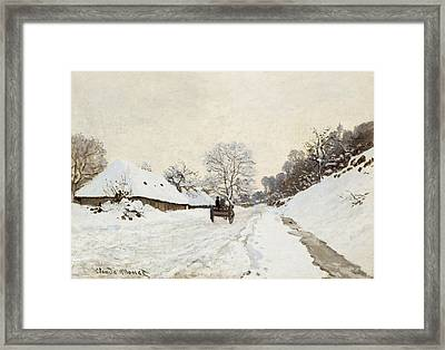 A Cart On The Snowy Road At Honfleur Framed Print by Claude Monet