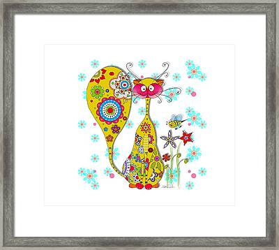A Cat And A Little Bee Framed Print by Isabel Salvador