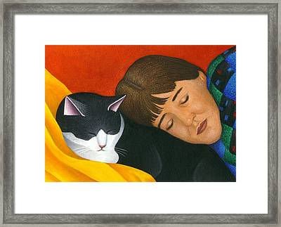 A Cat Is A Furry Pillow Framed Print by Carol Wilson