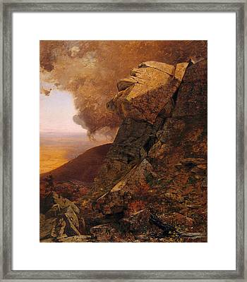 A Cliff In The Catskills Framed Print by Jervis McEntee