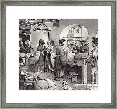 A Cloth Merchant's Shop In Renaissance Italy Framed Print by Pat Nicolle