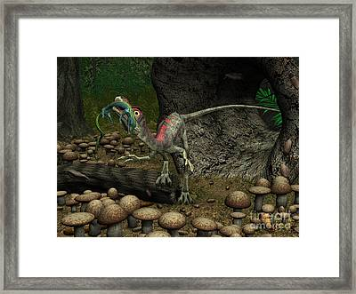 A Compsognathus Prepares To Swallow Framed Print by Walter Myers