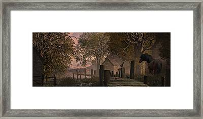 A Country Farm Scene With Blue Jay Watching A Crab On An Old Pier Along With Horse Framed Print by Peter Nowell