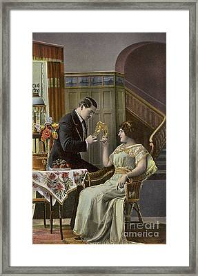 A Couple Toasting Each Other's Wine Glasses Framed Print by English School