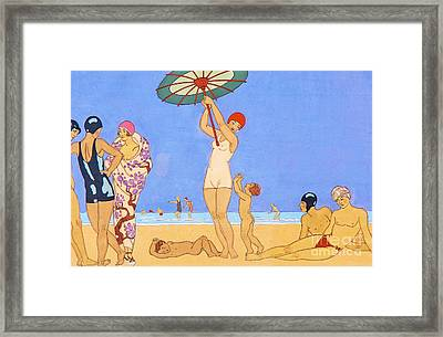 A Day At The Beach, 1923 Framed Print by Georges Barbier