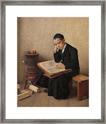 A Difficult Passage In The Talmud Framed Print by Isidor Kaufmann