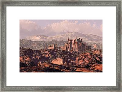 A Distance Medieval Old European Castle Fortress In The Countryside. Framed Print by Peter Nowell
