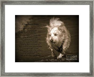 A Dog Owners Prayer Framed Print by Clare Bevan