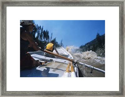A Dory Boater Runs Rapics On The Salmon Framed Print by Bill Hatcher
