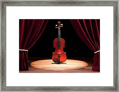 A Double Bass On A Theatre Stage Framed Print by Caspar Benson