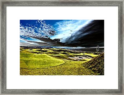 A Dramatic View On Hole 15 - Chambers Bay Framed Print by David Patterson