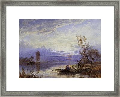 A Ferry At Sunset Framed Print by Myles Birket Foster