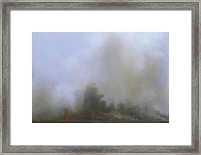 A Fire Burns In The Marsh On Ocracoke Framed Print by Stephen Alvarez