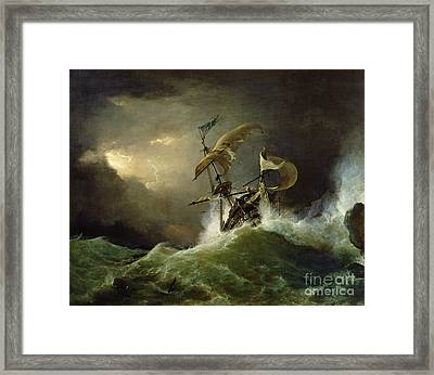 A First Rate Man Of War Driven Onto A Reef Of Rocks, Floundering In A Gale  Framed Print by George Philip Reinagle