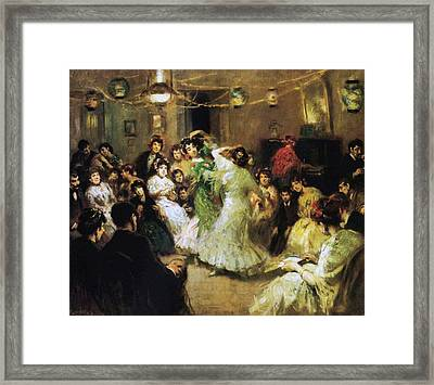 A Flamenco Party At Home Framed Print by Francis Luis Mora
