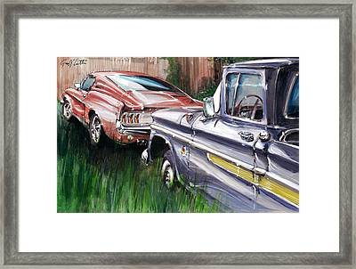 A Ford Mustang And A Gmc Pick-up In A Canadian Garden Framed Print by Geoff Latter