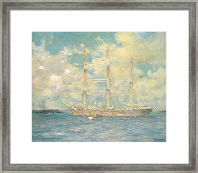 A French Barque In Falmouth Bay Framed Print by Henry Scott Tuke