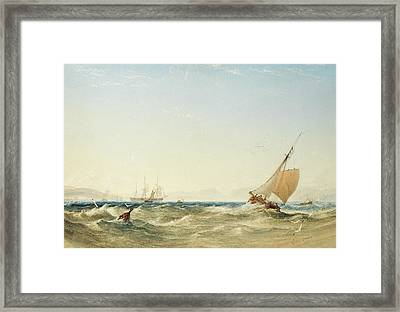 A Fresh Breeze Off The Coast Of Scotland Framed Print by Anthony Vandyke Copley Fielding