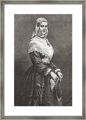 A Friesland Lady In Typical Dress From Framed Print by Vintage Design Pics