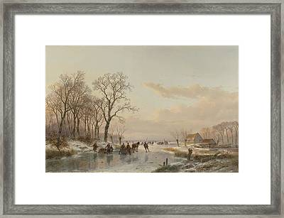 A Frozen Canal Near The River Maas Framed Print by Celestial Images