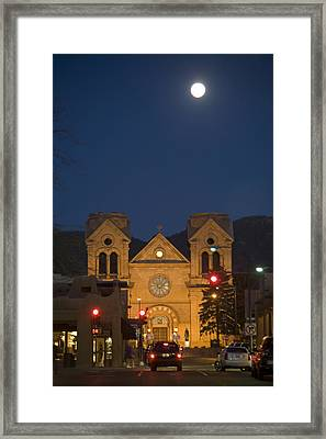 A Full Moon Rises Over  Cathedral Framed Print by Stephen St. John