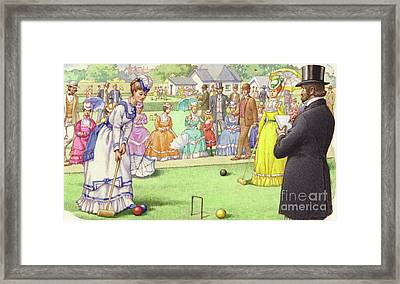 A Game Of Croquet At The All England Club At Wimbledon Framed Print by Pat Nicolle