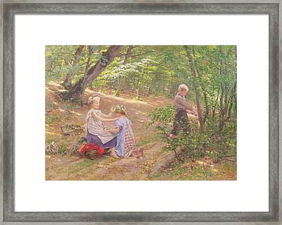 A Garland Of Flowers Framed Print by Frigyes Friedrich Miess
