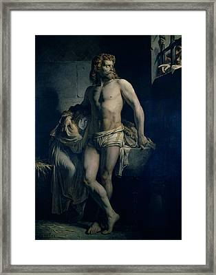 A Gaul And His Daughter Imprisoned In Rome Framed Print by Felix-Joseph Barrias