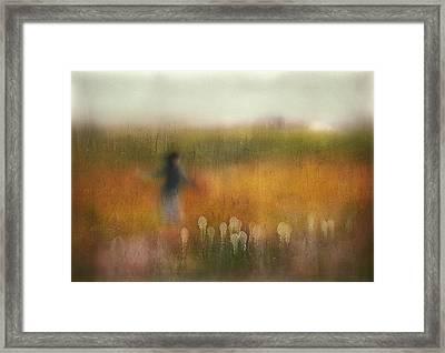 A Girl And Bear Grass Framed Print by Shenshen Dou