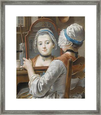 A Girl Wearing A Bonnet Framed Print by French School
