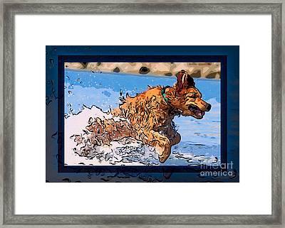A Golden Retriever Splashing Abstract Dog Art Framed Print by Omaste Witkowski