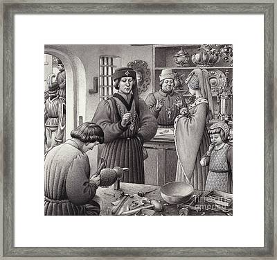 A Goldsmith's Shop In 15th Century Italy Framed Print by Pat Nicolle