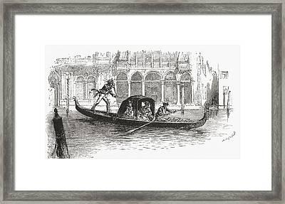 A Gondola Transporting Passengers On Framed Print by Vintage Design Pics