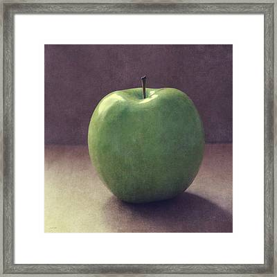 A Green Apple- Art By Linda Woods Framed Print by Linda Woods