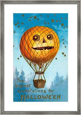 A Halloween Pumpkin Hot Air Balloon Framed Print by Ellen Hattie Clapsaddle