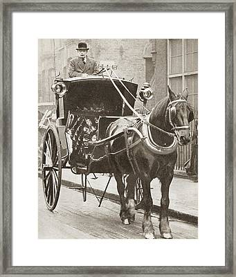A Hansom Cab In London, England In Framed Print by Vintage Design Pics
